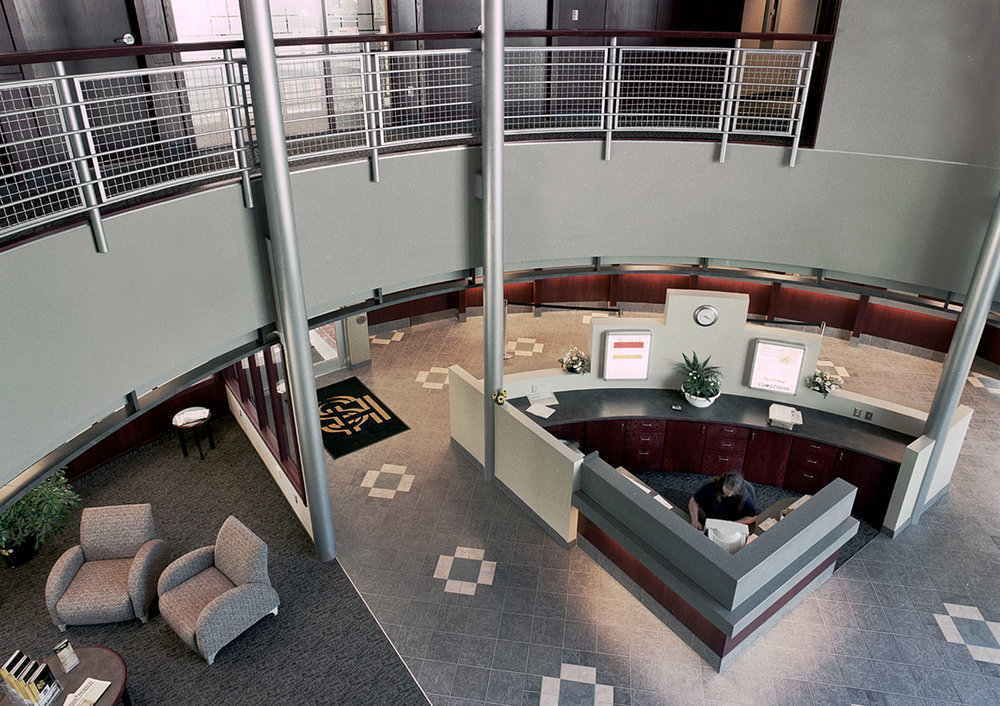 Holy Spirit (Entegra) Credit Union, interior photo of second floor looking to main floor