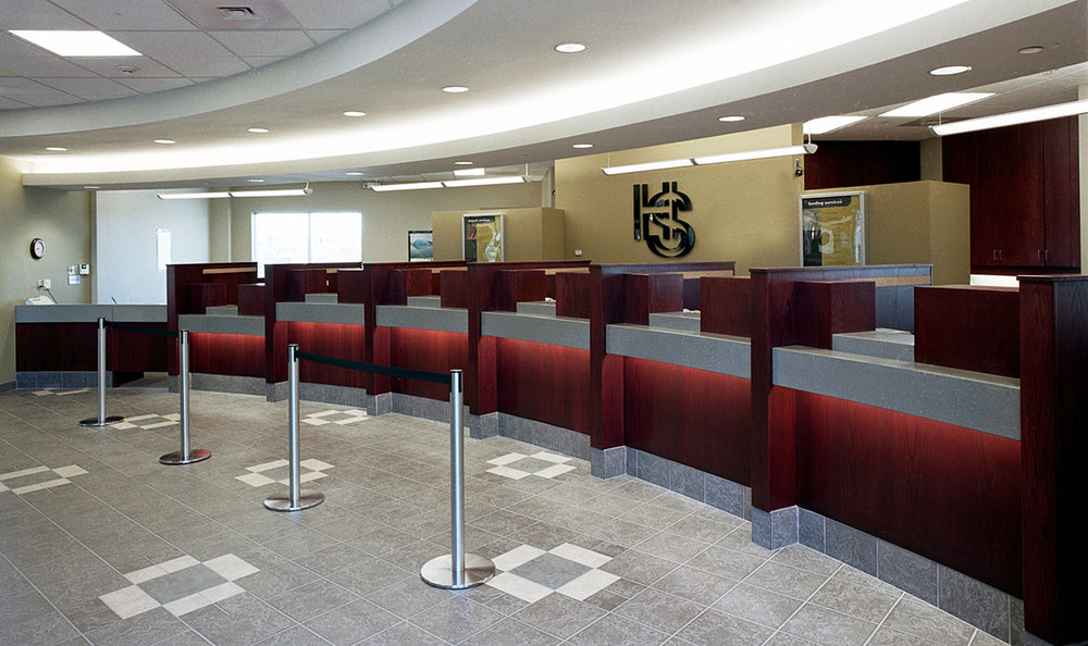 Holy Spirit (Entegra) Credit Union, interior photo of teller wickets