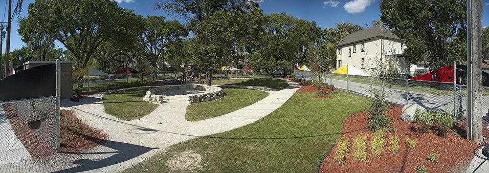 Makoonsag Daycare, exterior photo of play yard / Photo: Derrick Finch