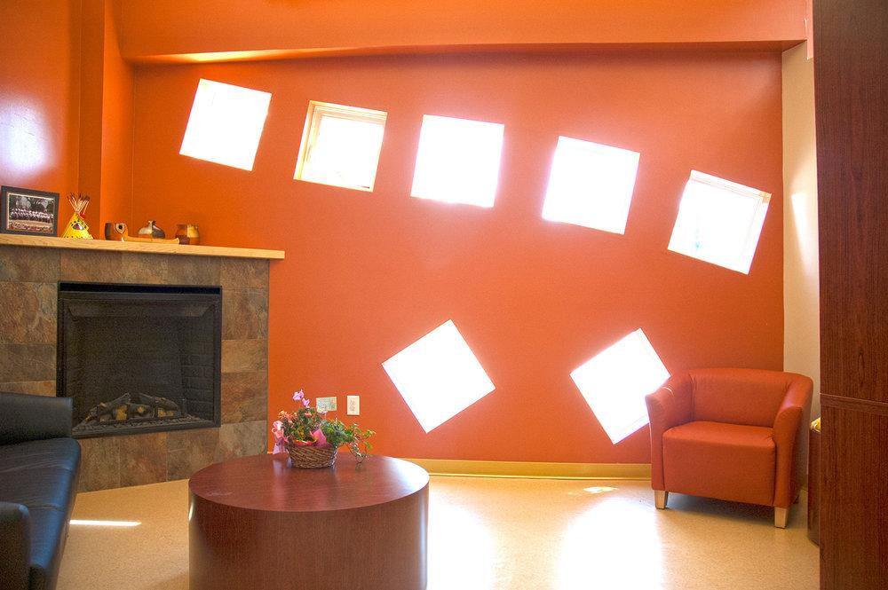 Makoonsag Daycare, interior photo of waiting area / Photo: Derrick Finch