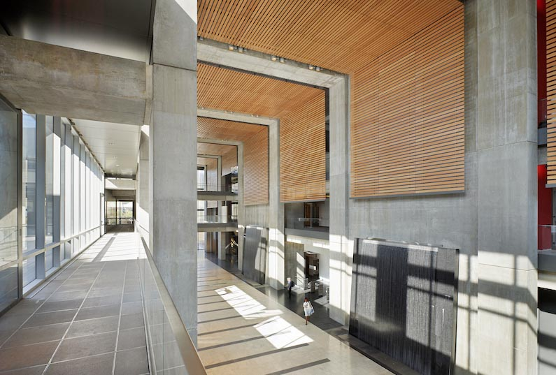 Manitoba Hydro Place, interior photo of atrium from second floor / Photo: Tom Arban