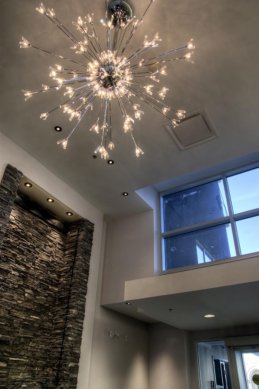 Pulse on River Condominiums, interior photo of entrance atrium / Photo: Bryan Scott