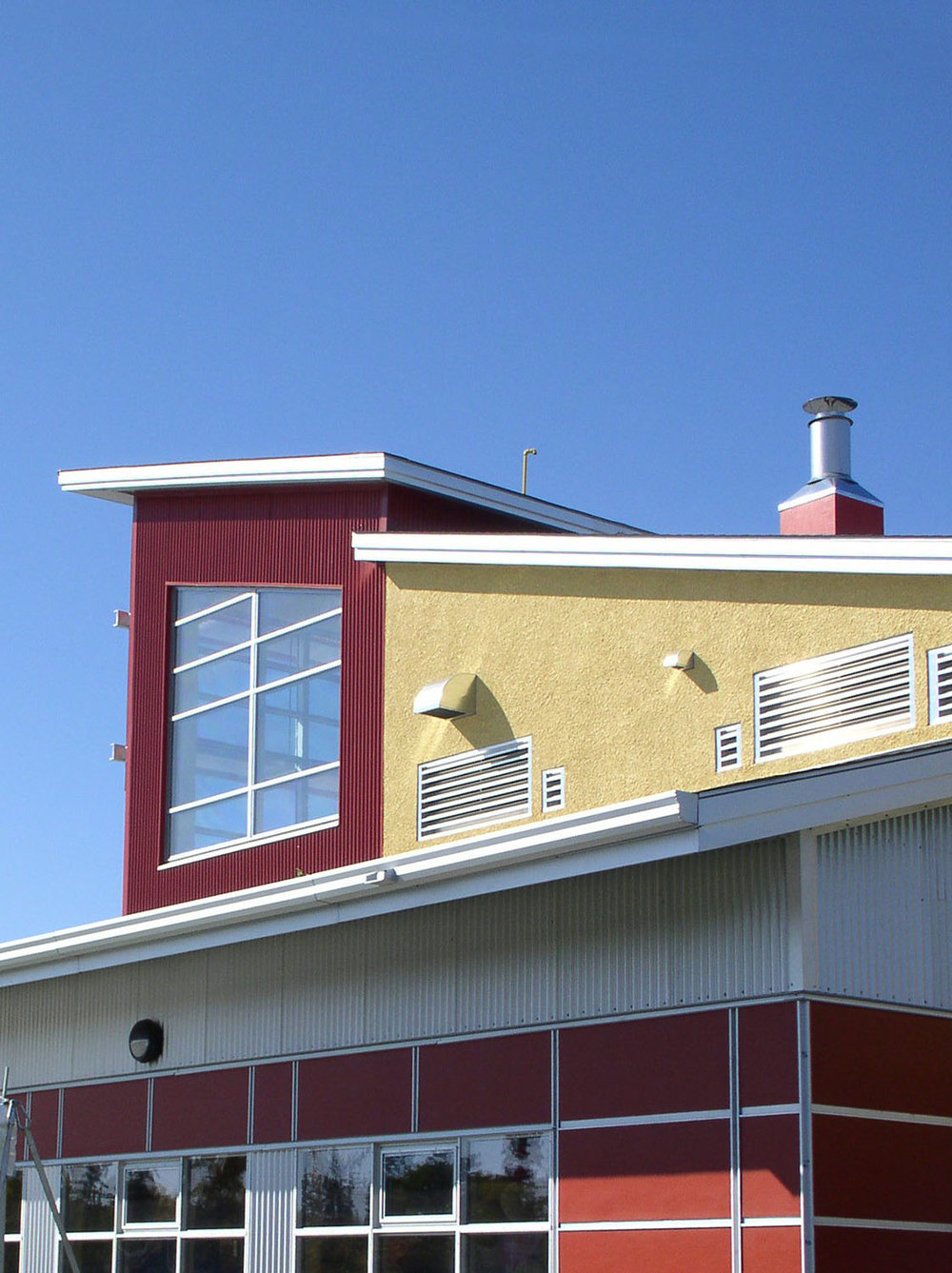 Red River Community Centre, exterior detail photo of building