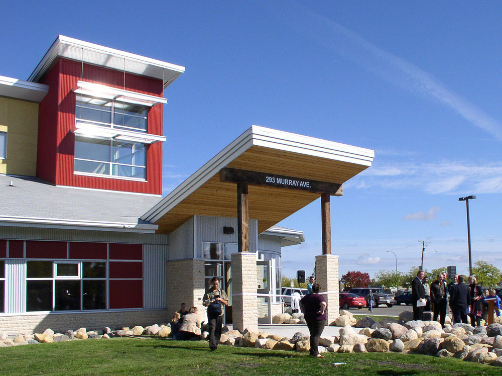 Red River Community Centre, exterior photo of building entrance