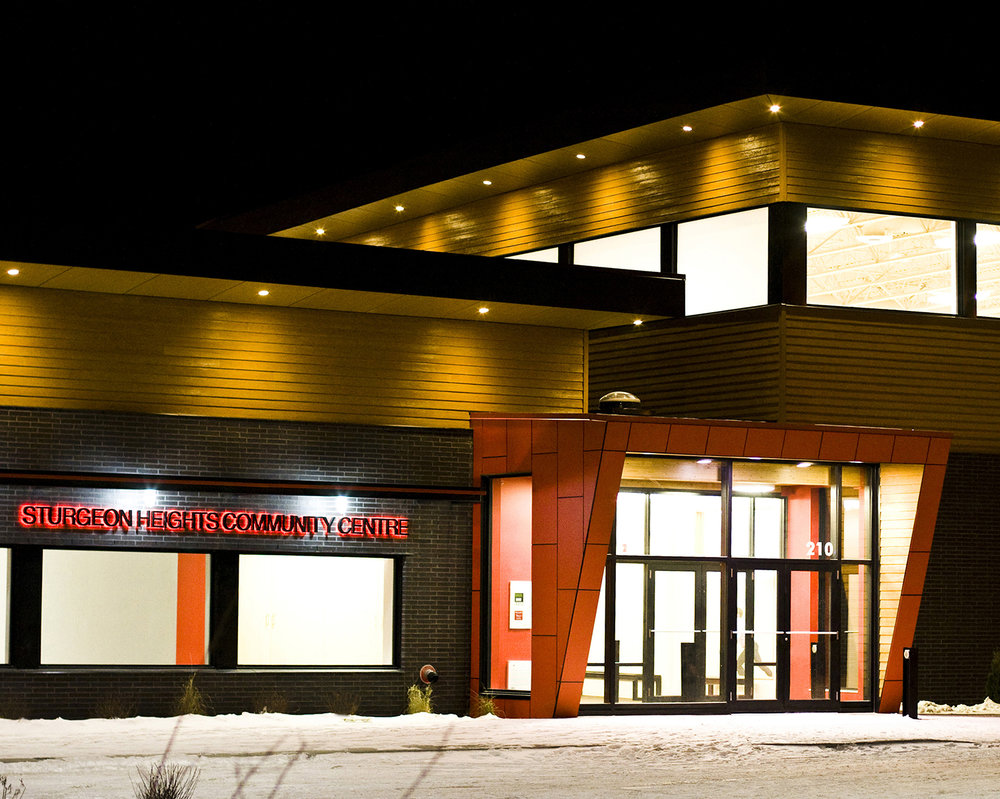 Sturgeon Heights Community Centre, exterior photo of building at night / Photo: Tracy A Wieler