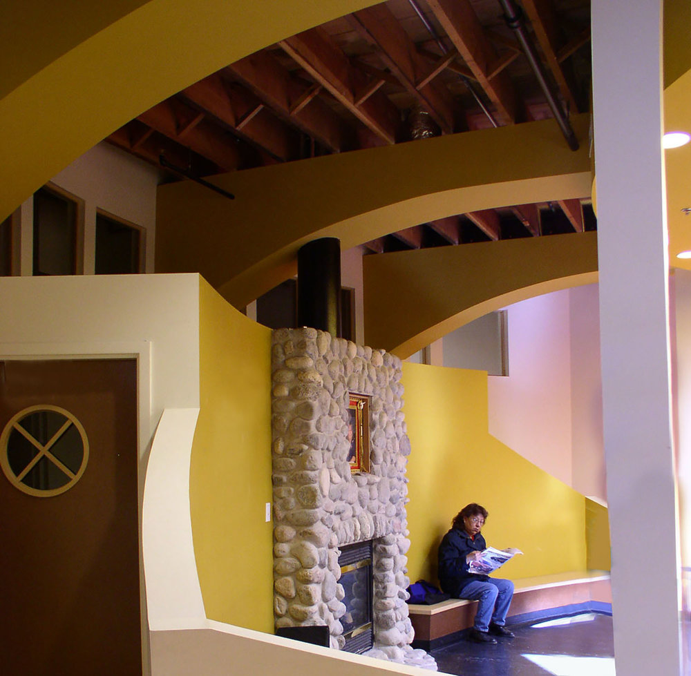 Urban Circle Training Centre, interior photo of fireplace