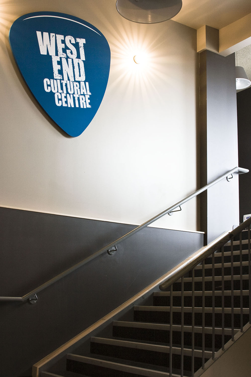 West End Cultural Centre, interior photo of stairs and sign / Photo: Tracy A Wieler