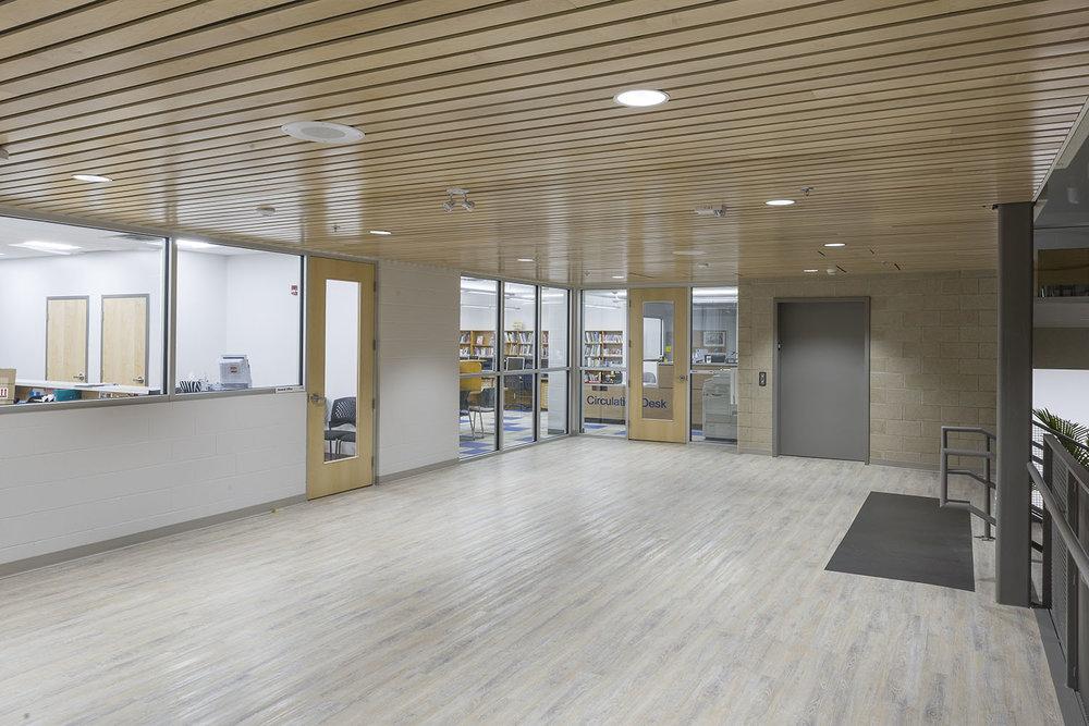 Westgate Mennonite Collegiate, interior photo of library entrance