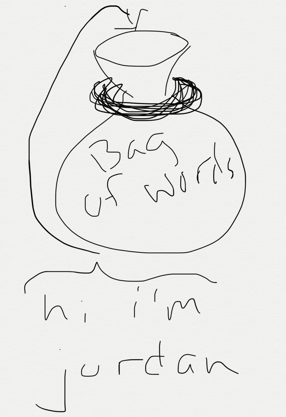 A Bag of Words. Apologies for my horrible art skills.