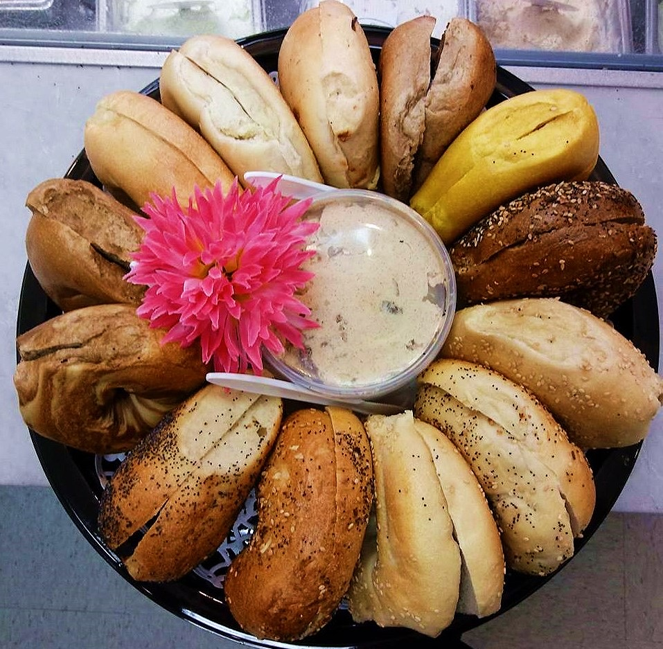 Bagel Tray - Your choice of 13 assorted bagels sliced and paired with two 1/2 pounds of our