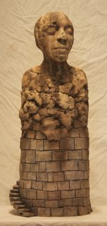 Spring gate, rituals of purification   2013  26 x 10 x 6  Mason stains on stoneware and balsa