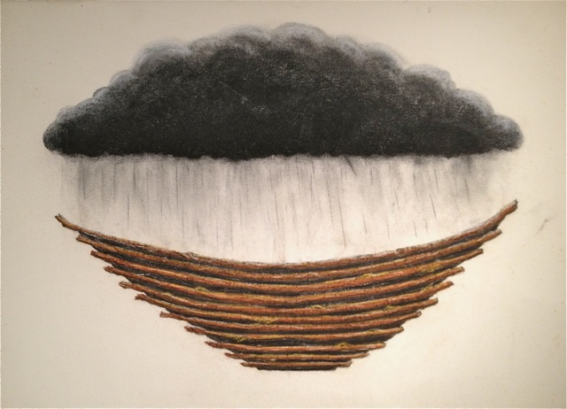 The cloud by day   2011  22 x 30  Framed charcoal and chalk pastel on paper