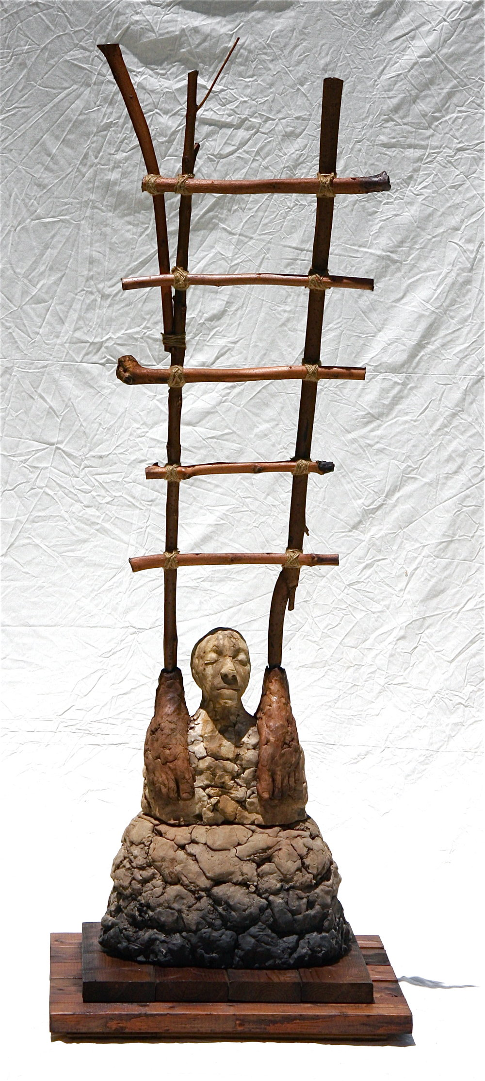 Years of sustaining the ascendant path   2007-2010  Ceramic, wood, branches and twine  71 x 24 x 14