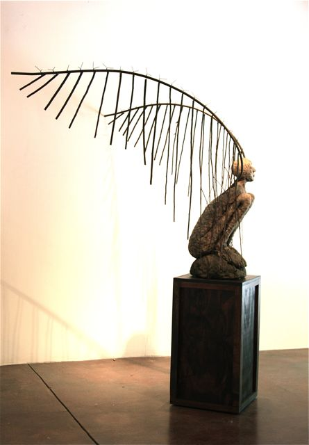 Waiting for the dream to come on a moonless night   2009  80 x 63 x 56  Ceramic, steel, branches, wood and wire