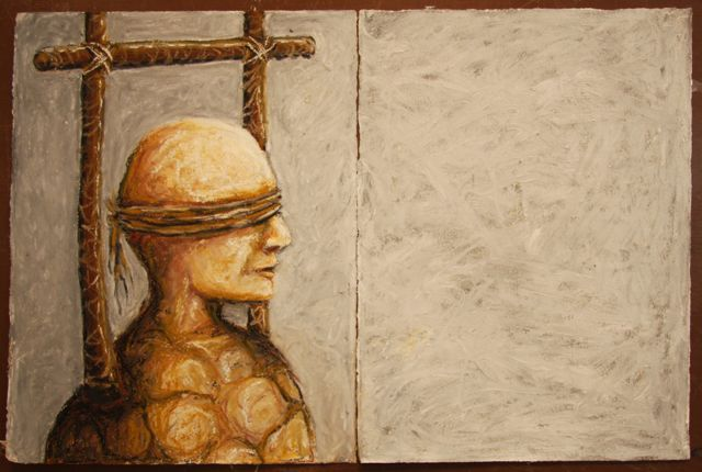 "Unseen the way of sons: vision   2009  15 x 22"" (unframed)  Oil stick on paper"