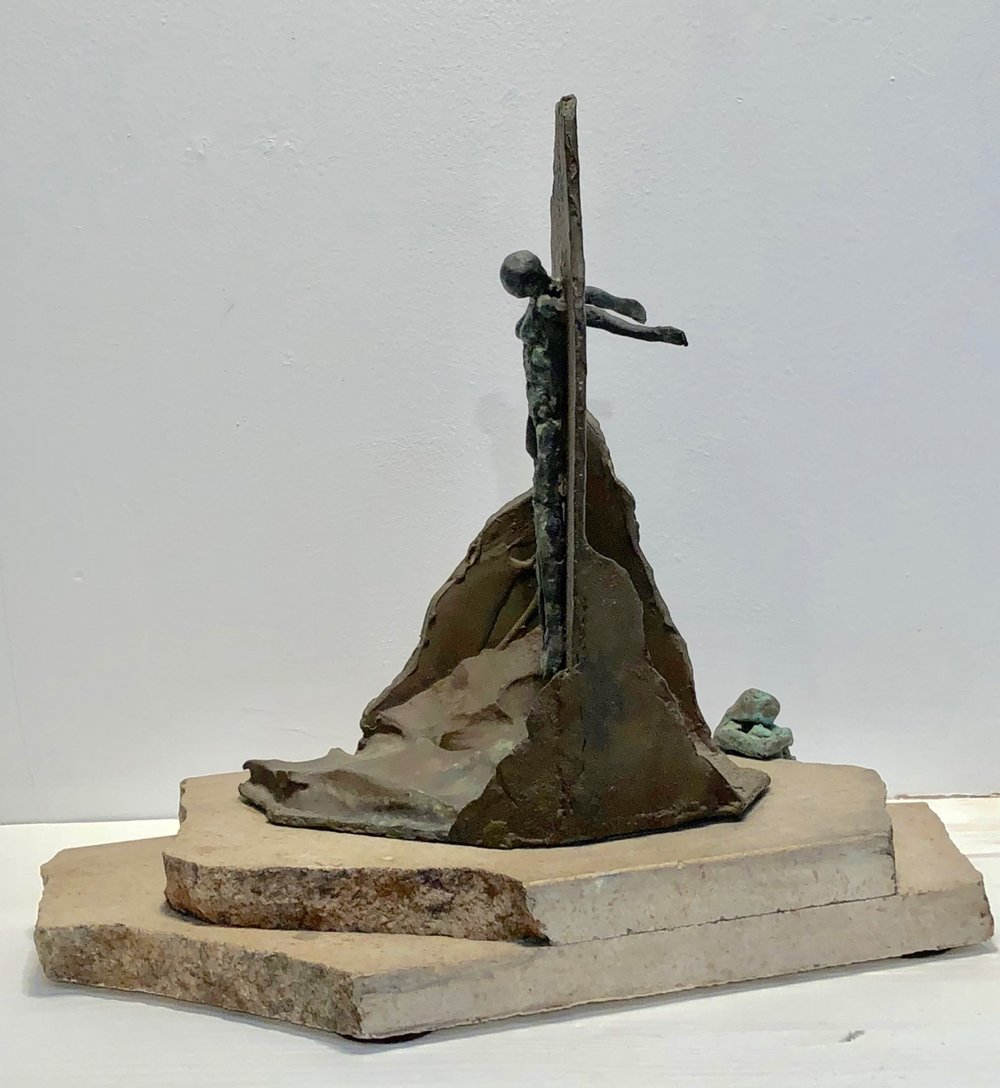 Biography from wrinkles of the palm   1994  Bronze and marble  13 x 7 x 14""