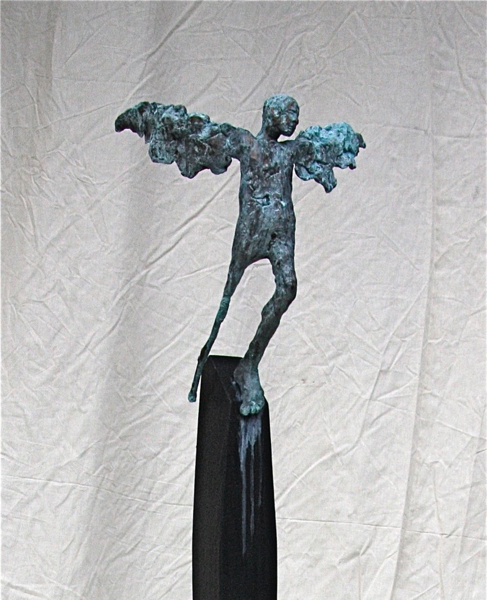 Turning of the season   2011  Bronze and wood  30 x 11 x 14""
