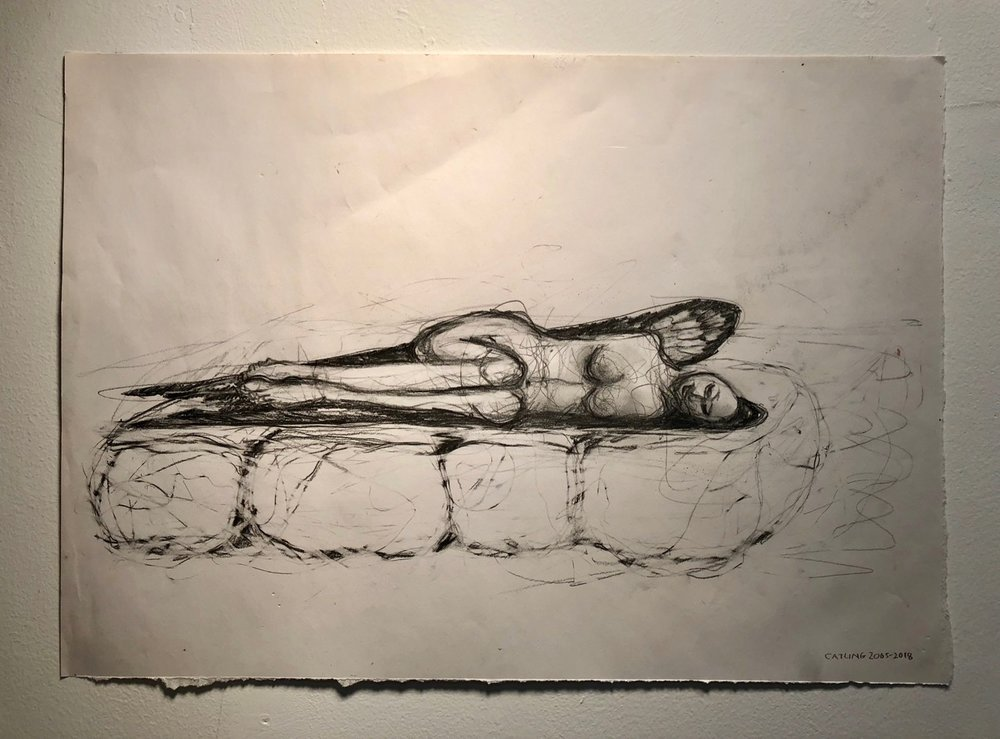 Reclining on bedrock   2005-2018  Graphite and charcoal on paper  15 x 21""