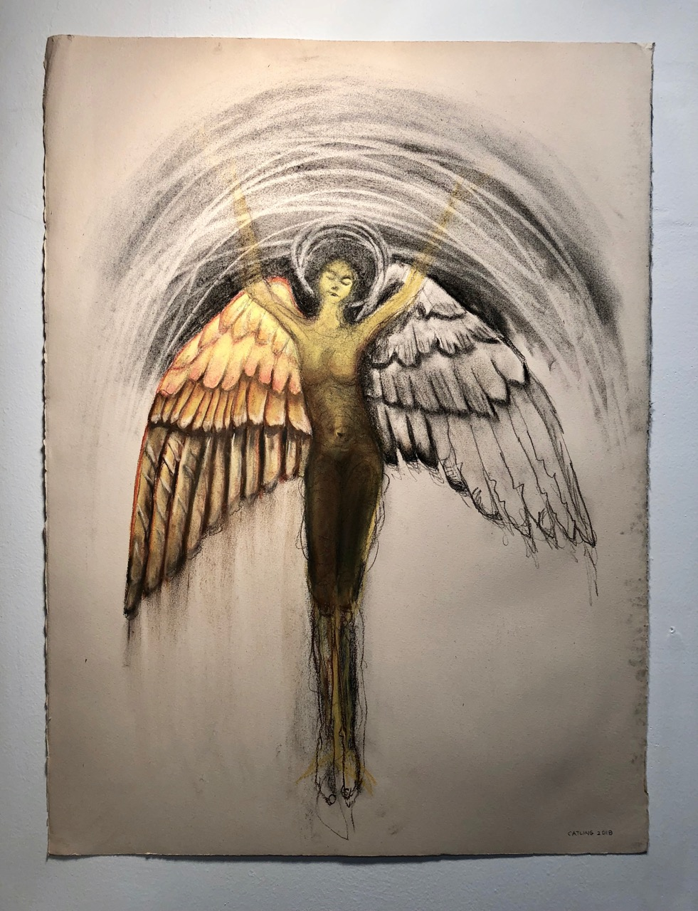 Winged orante   2018  Graphite, charcoal and chalk on paper  30 x 22""