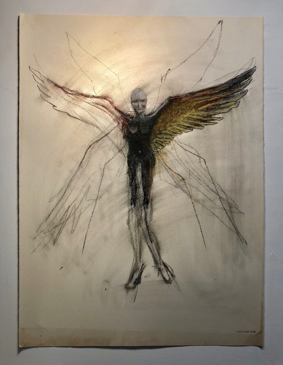 Kairos drawing   2018  Graphite, charcoal and chalk on paper  30 x 22""