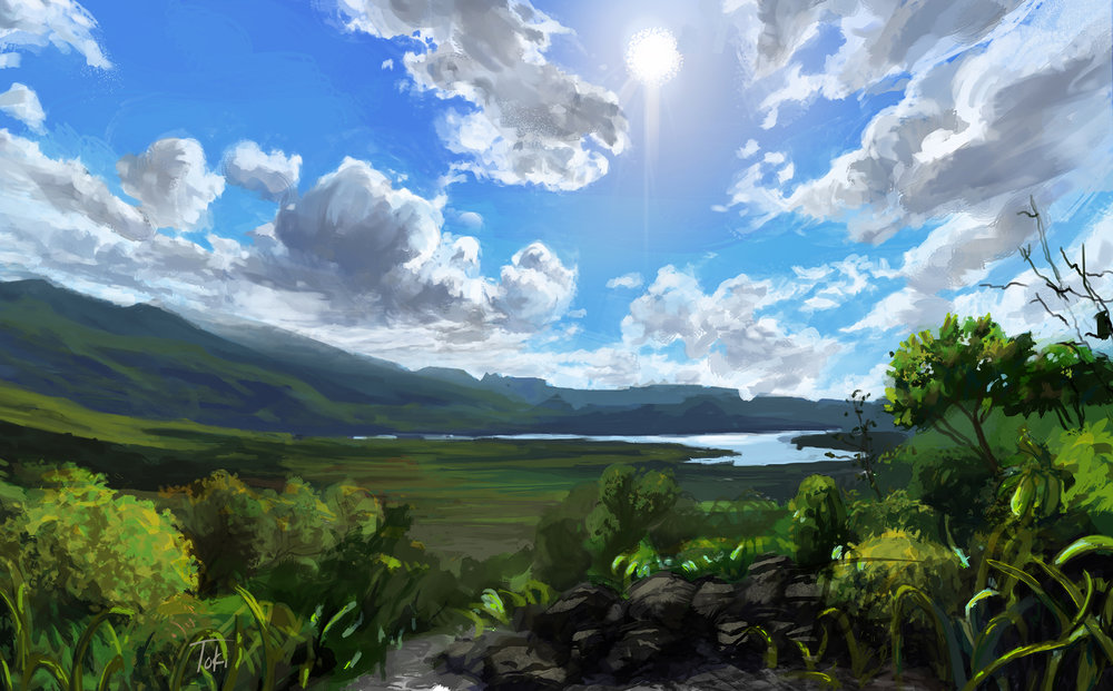 """gallery of """"tra-digital"""" landscape painting, digital painting approached with a traditional mindset."""