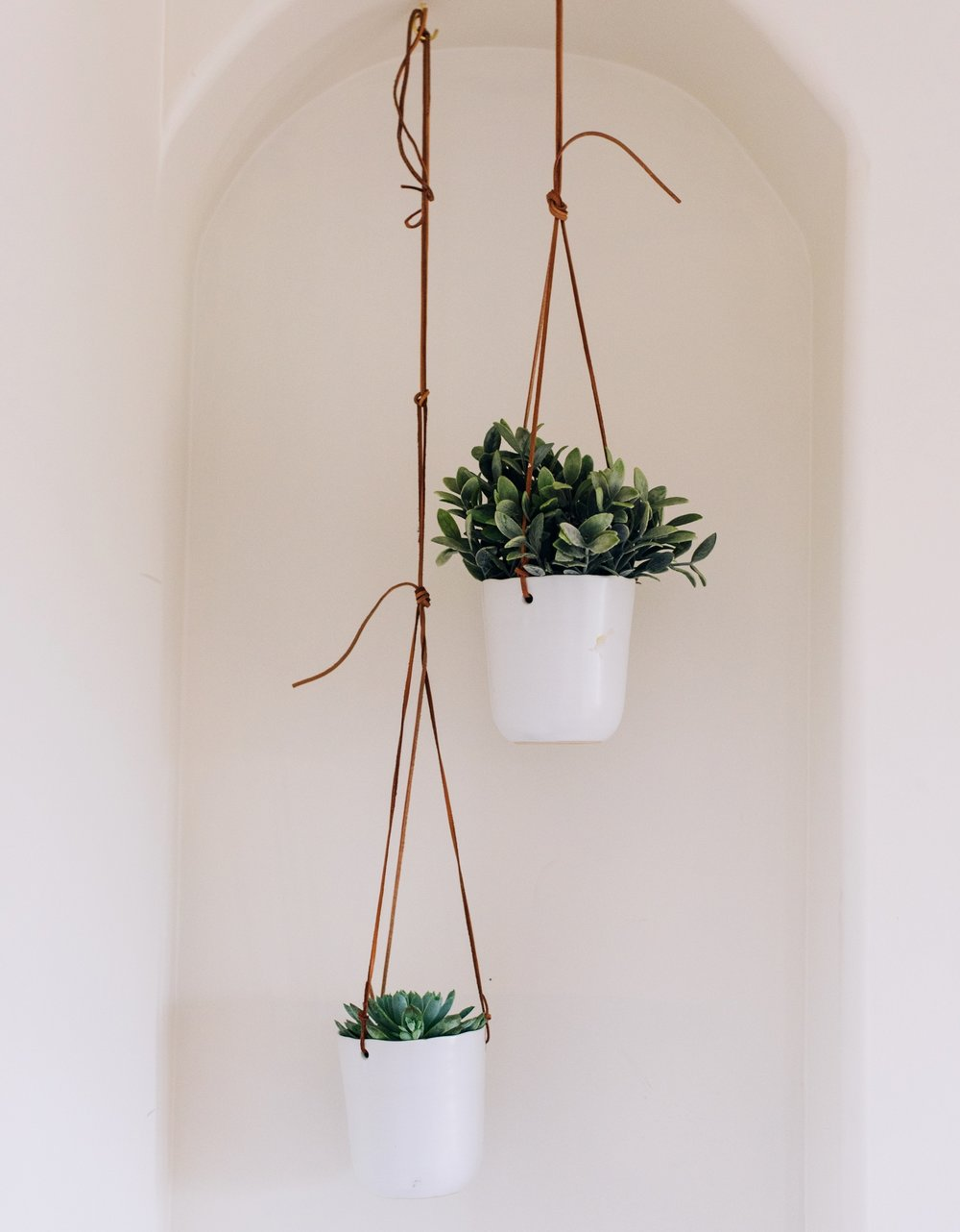 Leather Ceramic Hanging Planter x 2: Urban Outfitters Home  (I added additional leather to the low hanging planter)