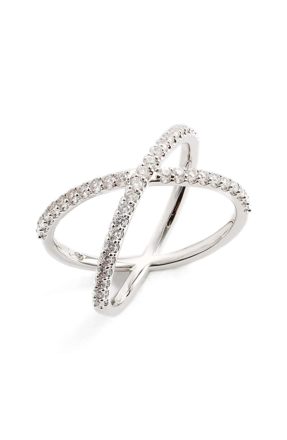 Cubic Zirconia Crossover Ring in Silver $55.00 -