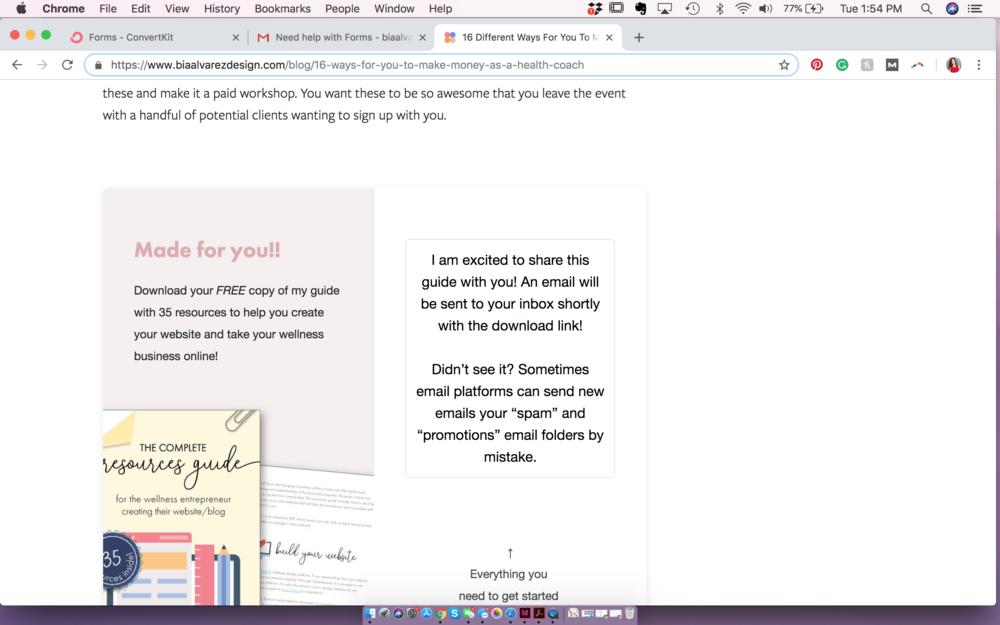 How To Customize Your ConvertKit Form's Success Message Colors custom css bia alvarez design blog post
