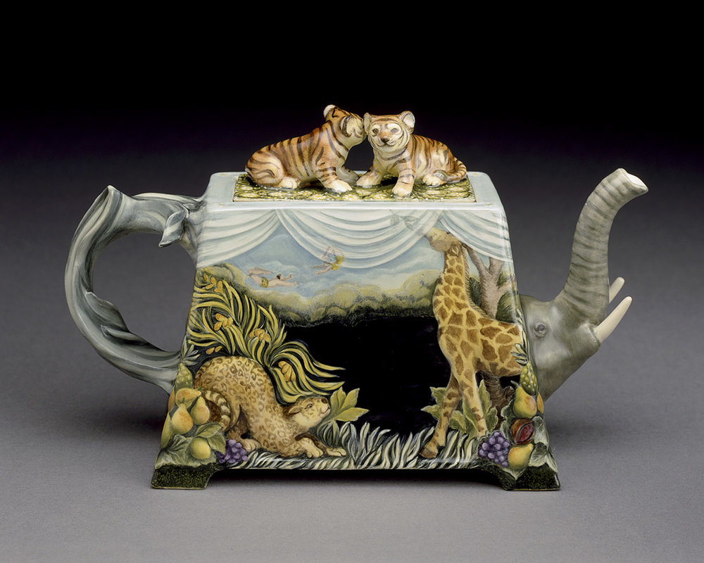 "Safari, 1998, View-Tiger and Giraffe, Kamm Teapot Collection, View, 8"" x 12"" x 5"""