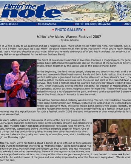 Wanee Festival 2007 - Hittin' The Note, 2007