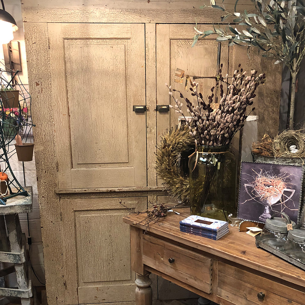 """Old Farmhouse Cupboard - Ivory tones accented with aged crackled paint 86"""" h x 66"""" w x 17' d$750"""