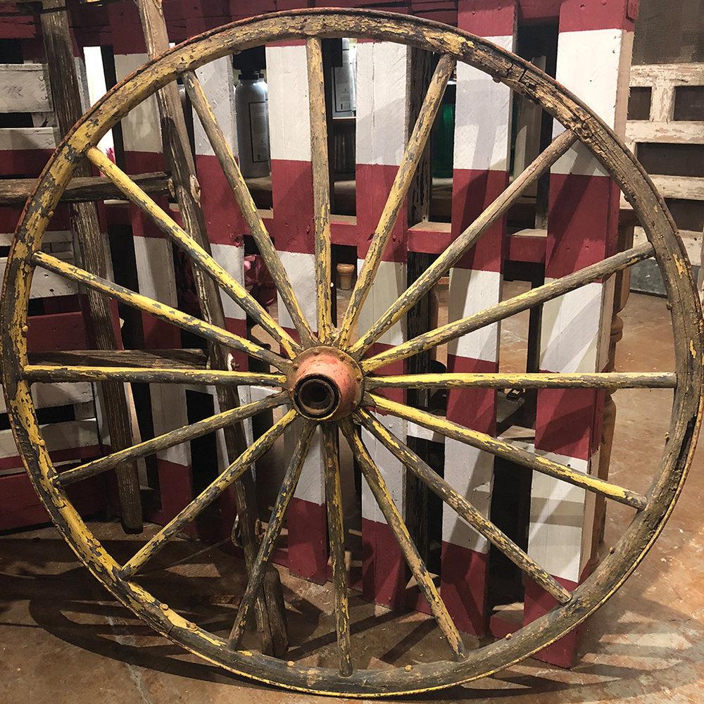 """Yellow Chippy Wagon Wheel - 44"""" diameter $225"""