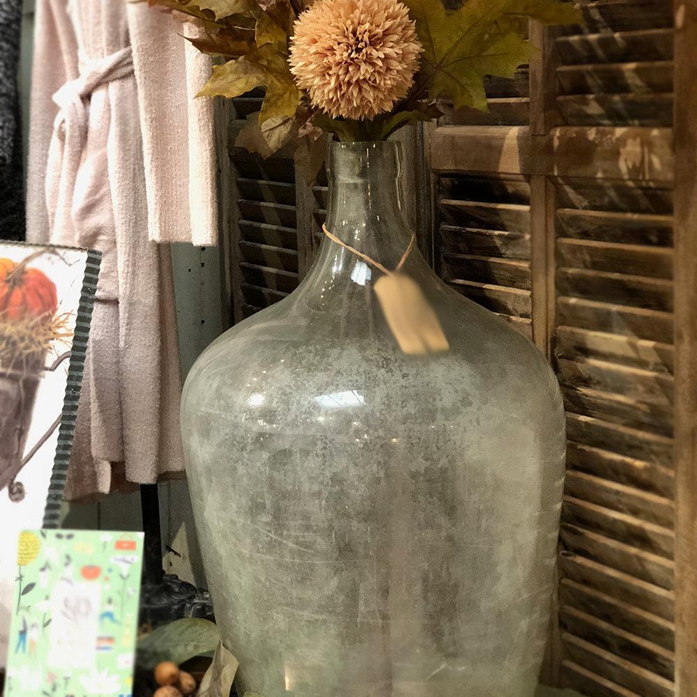 """Antique Vintners Bottle Clear - 16"""" diameter x 26""""h$198"""