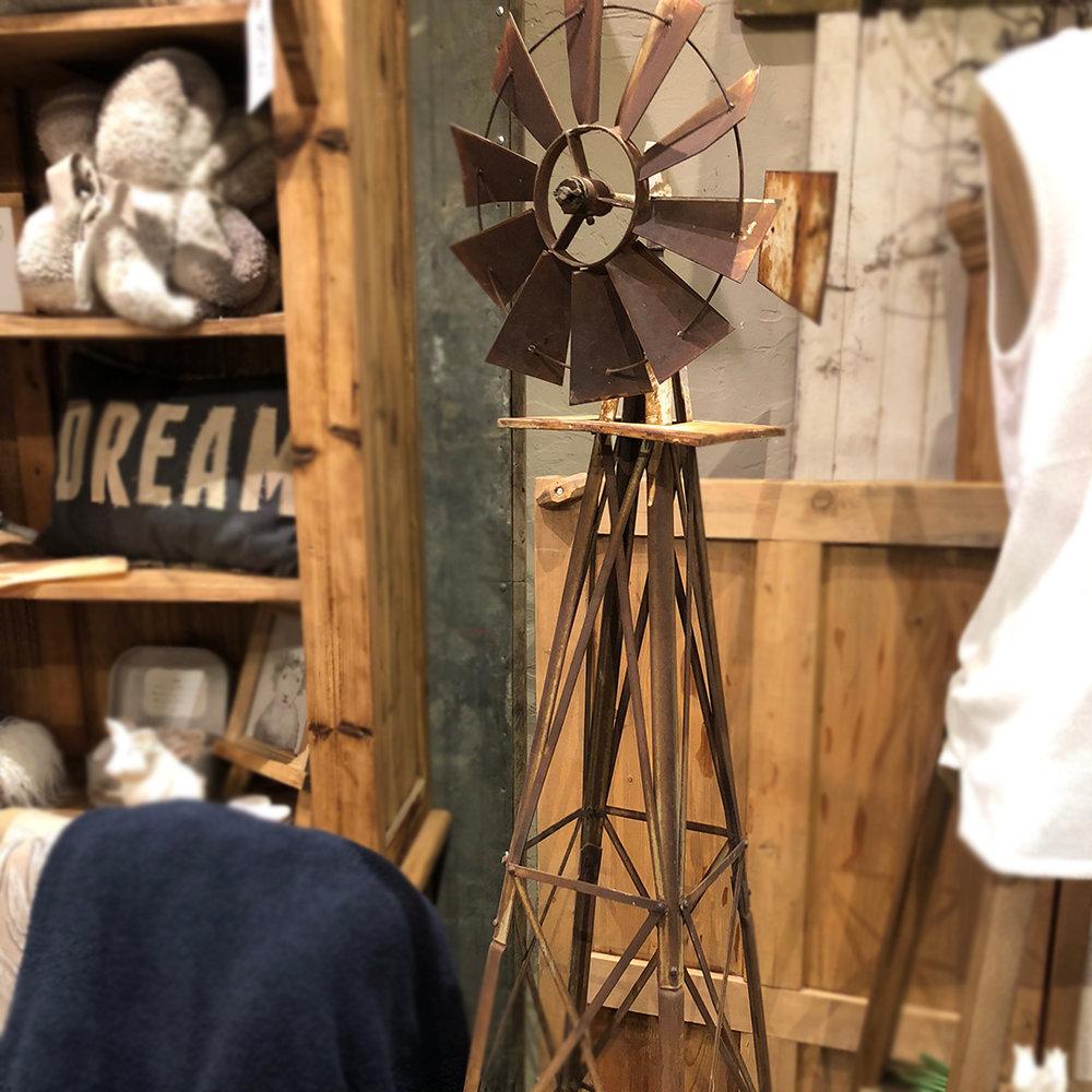 """Rare Rustic Windmill (small) - 13"""" x 13"""" square base x 55""""h$195"""