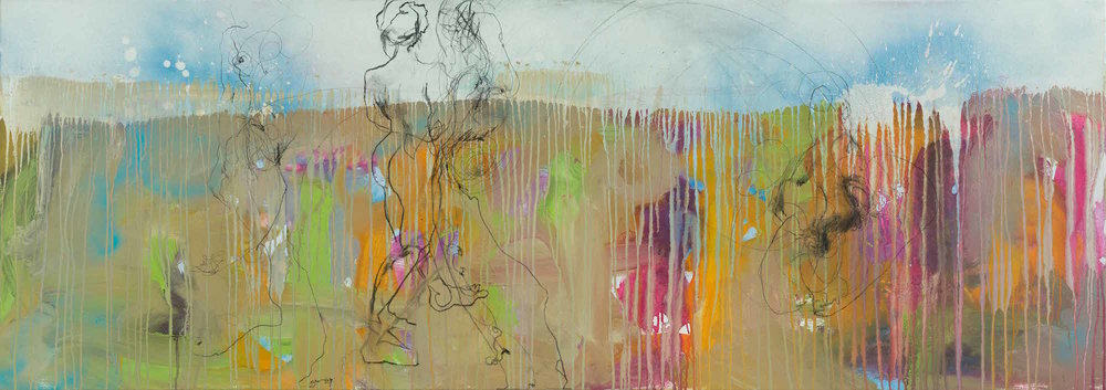 The Gathering.  Mixed Media On Canvas. 76 x 213.