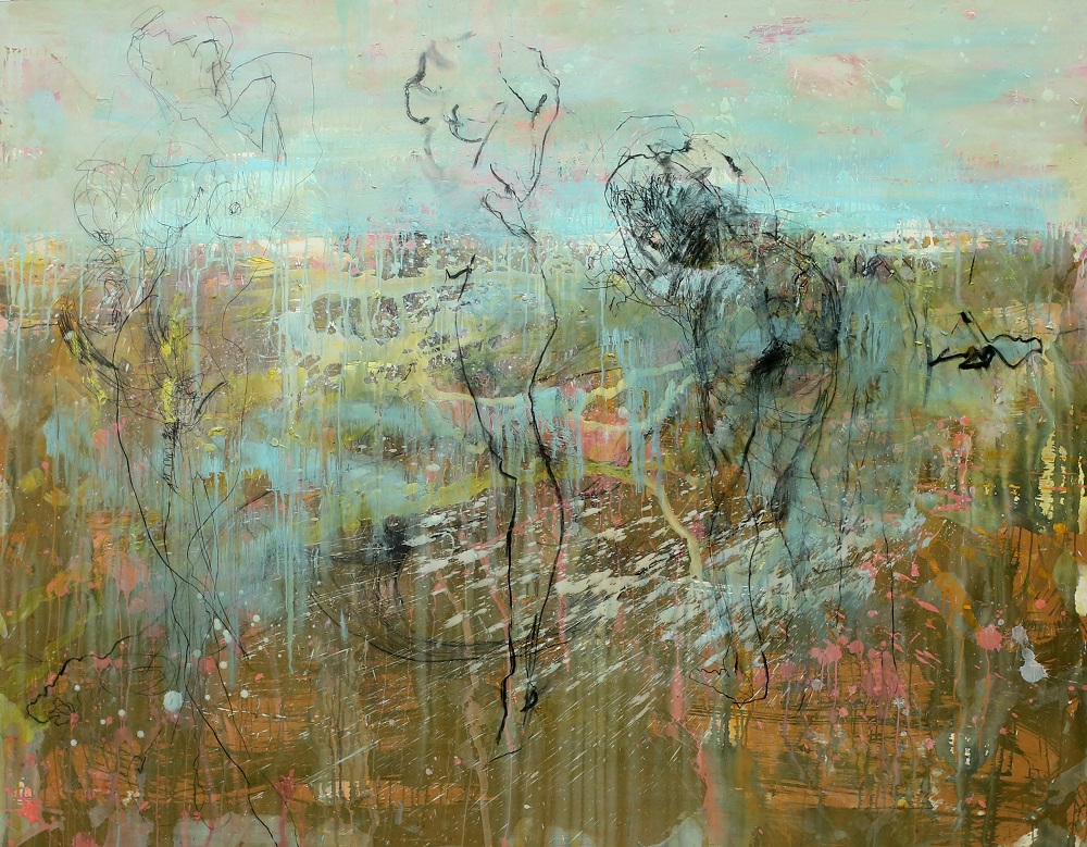 Grasslands . Plaster Acrylic Ink Charcoal and Varnish On Board.  167 x 213cm