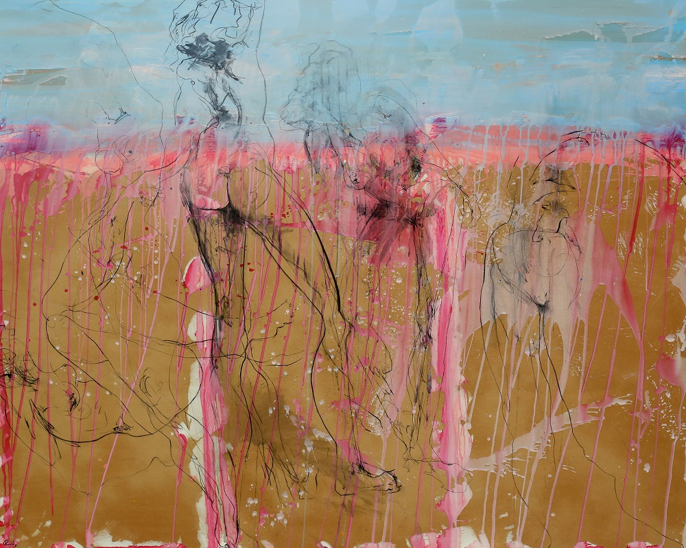 Strawberry Fields .Plaster Acrylic Ink Charcoal and Varnish On Board.  167 x 213cm