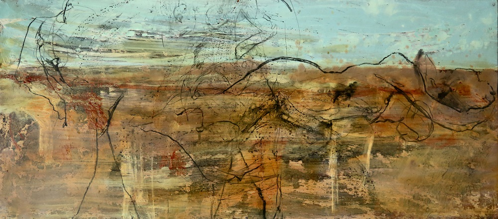 Within Broken Earth.  Plaster Acrylic Enamel Oil Charcoal and Varnish on Board. 40 x 920cm