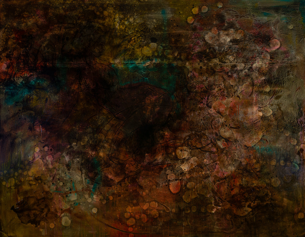 From This World But Not.  Mixed Media on Board. 167 x 224cm.