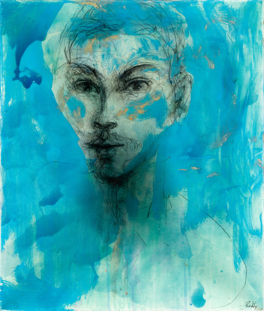 Portrait of Miguiel.  Mixed Media on Board. 64 x 54cm.