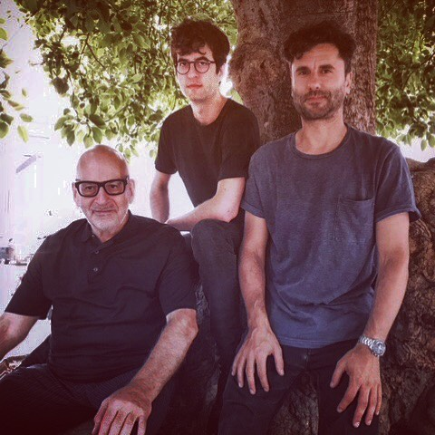 The boss #DanielMiller with @nicolasbougaieff & @terence_fixmer chilling by a tree in sunny Barcelona ahead of #novamute night in @moog_barcelona  @novitonagency