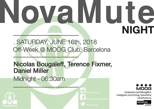 Off the back of our rave in Israel and an amazing night in Tel Aviv last week, we are heading to #Barcelona this Saturday for another #NovaMuteNight at @MOOGbarcelona with #DanielMiller, @nicolasbougaieff & @terence_fixmer  #sonar2018 #sonar25 #Sonar @tnml001