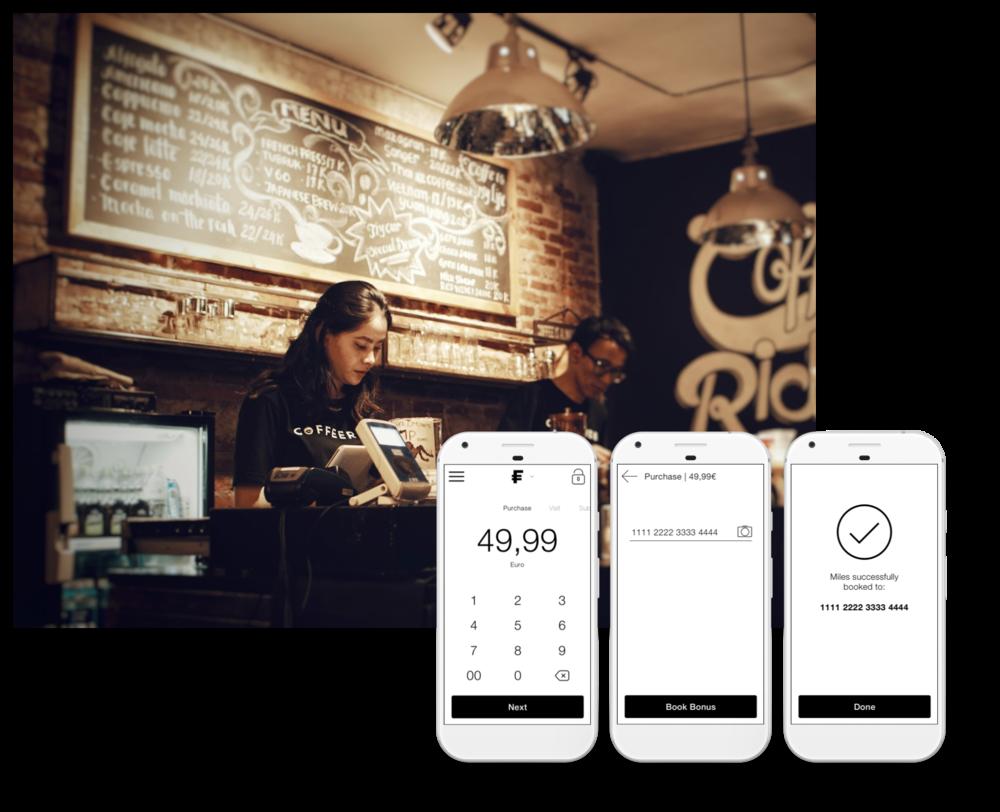 Fanmiles POS App - Belohnen Sie Ihre Kunden direkt am Point of Sale.Mit der Fanmiles POS App ist weder eine Kassenintegration noch spezielle Hardware notwendig. Sie benötigen lediglich ein Tablet oder Smartphone.Mehr erfahren ➝