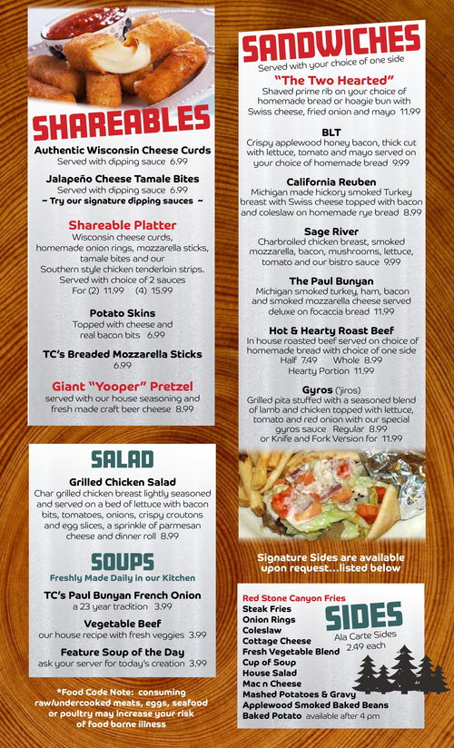Timber Charlies Menu 2018 2