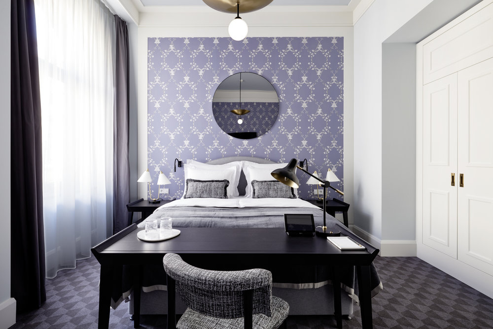 Deluxe room with Morning Glory wallpaper in custom Lavender