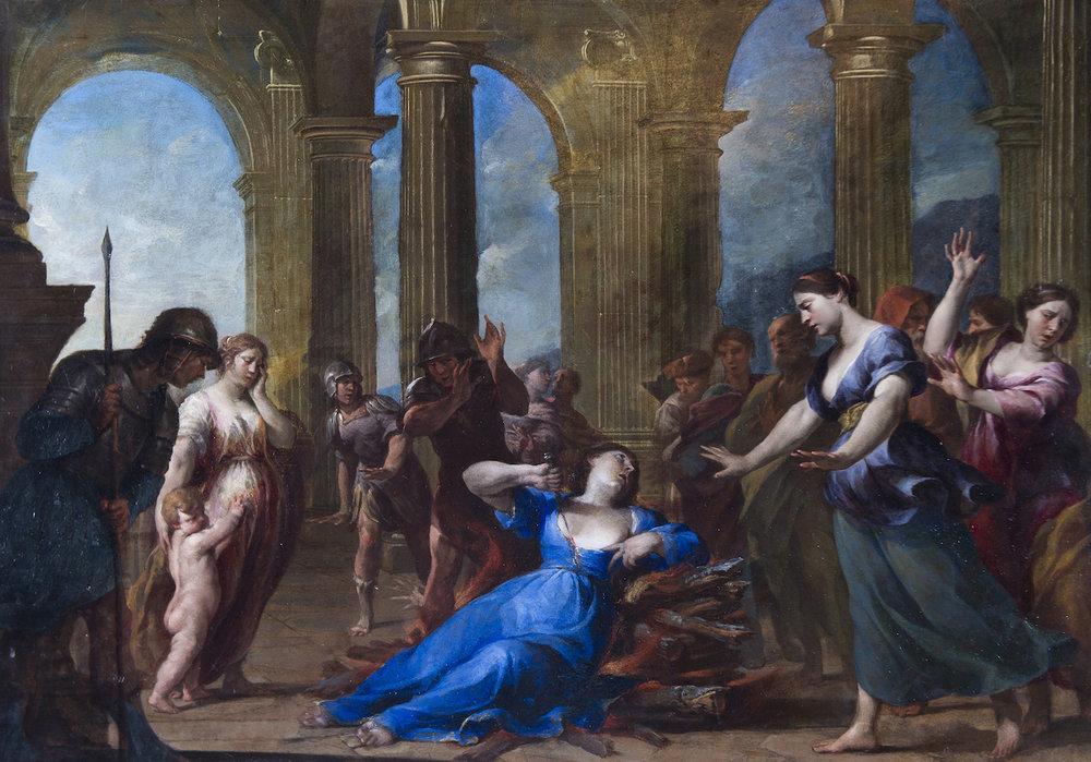 Andrea Vaccaro (1600–1670),  The Death of Dido,  oil on copper. Private collection, courtesy Robilant + Voena, London Milan St Moritz
