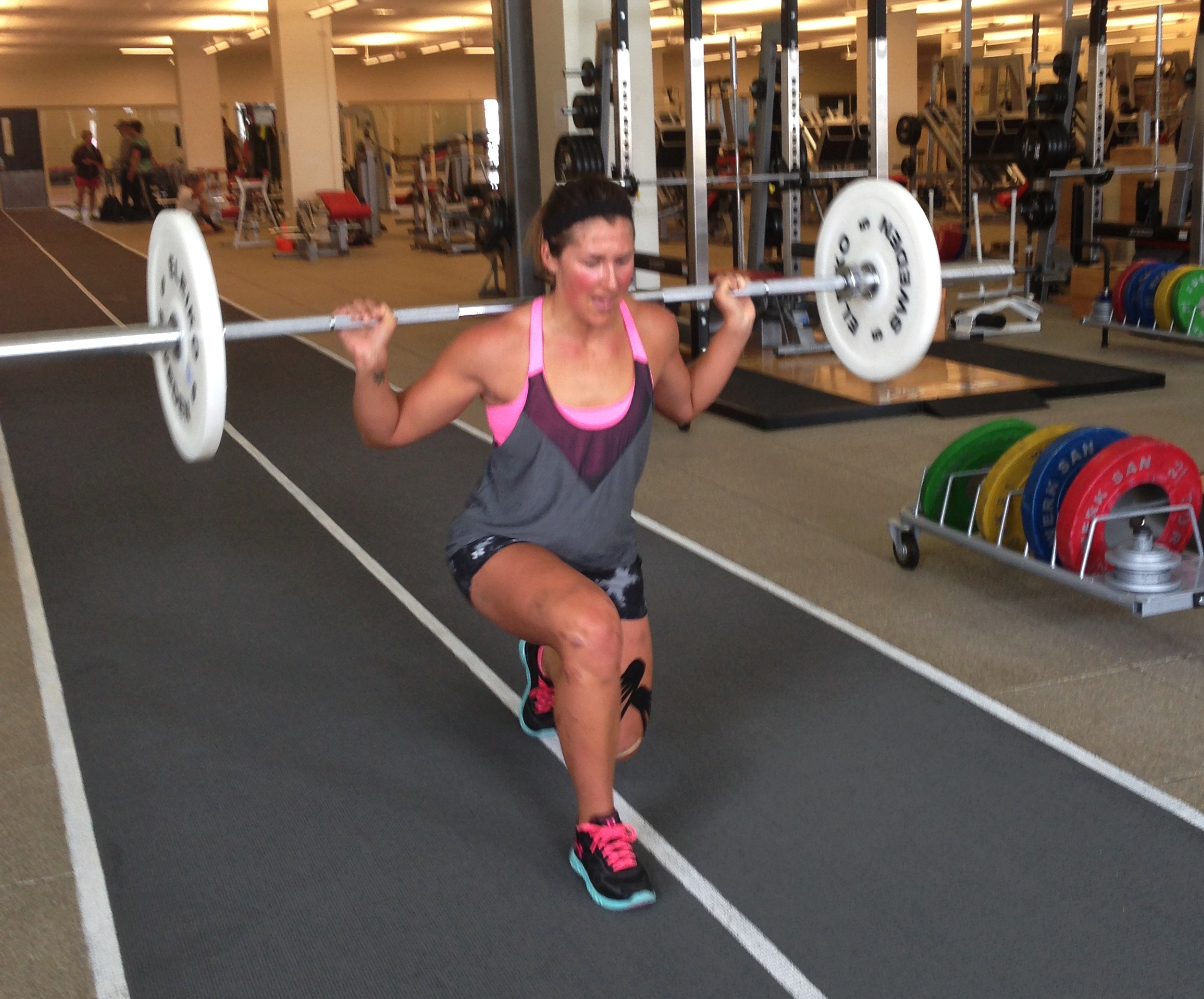 Walking Lunges: Stand with dumbbells grasped to sides or a barbell on your shoulders. Step forward with first leg. Land on heel then forefoot. Lower body by flexing knee and hip of front leg until knee of rear leg is almost in contact with floor. Stand on forward leg with assistance of rear leg. Lunge forward with opposite leg. Repeat by alternating lunge with opposite legs.