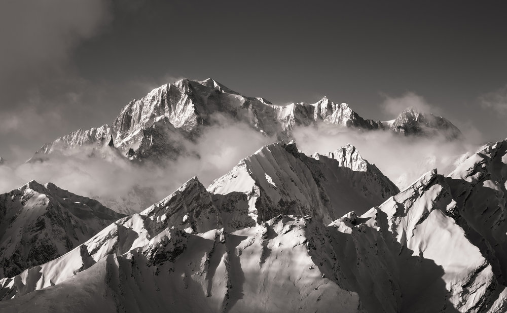 Mont Blanc from Tête des Fra, Italy. Credit Ben Tibbetts.
