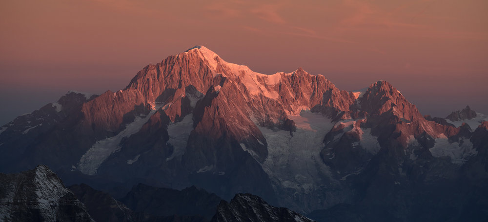 Mont Blanc at sunrise from Becca di Montandayné, Italy. Credit Ben Tibbetts.