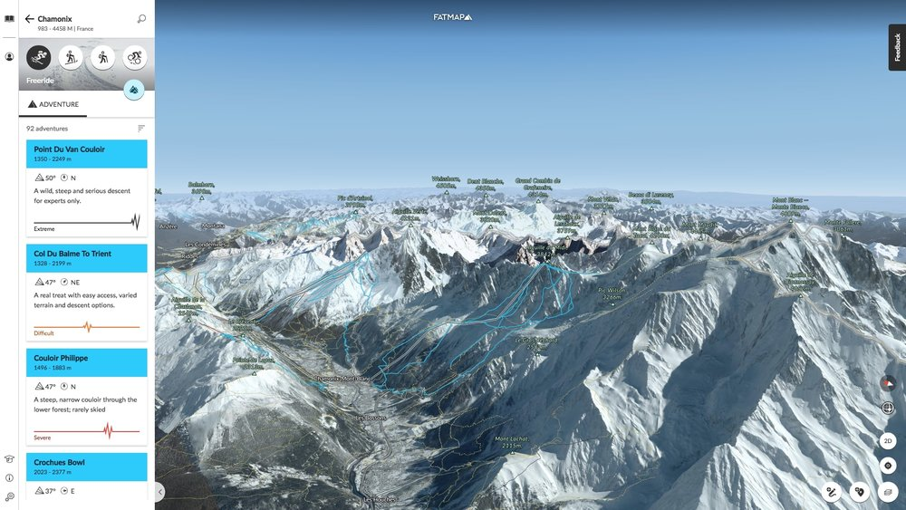 A view across Chamonix, France and exploring the freeriding options.